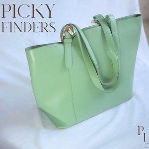 Furla mint green leather handbag with gold details